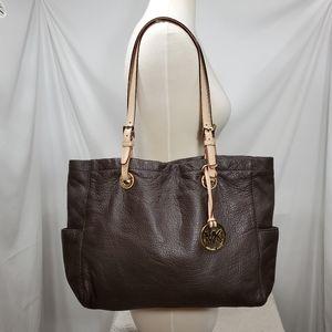 Micheal Kors Brown Leather Jet Set Tote Bag